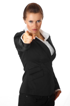 modern business woman pointing finger at you isolated on white